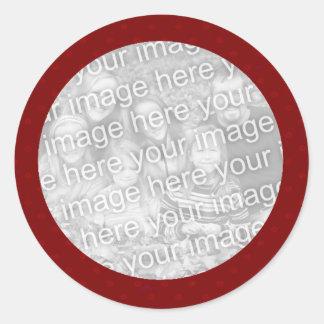Plantilla roja del pegatina de la foto de Polkadot