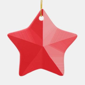 Plantilla roja del personalizable del ornamento adorno navideño de cerámica en forma de estrella