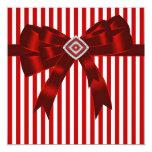 Plantilla roja y blanca elegante del fiesta de la invitación 13,3 cm x 13,3cm