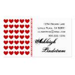 Plantilla roja y blanca personal de los corazones tarjeta de negocio