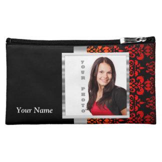 Plantilla roja y negra de la foto del damasco