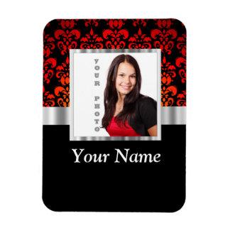 Plantilla roja y negra de la foto del damasco imán