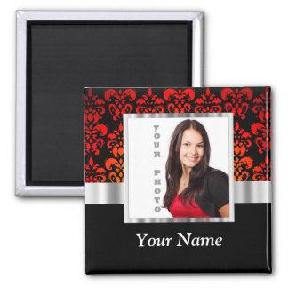 Plantilla roja y negra de la foto del damasco imán cuadrado