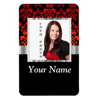 Plantilla roja y negra de la foto del damasco imanes de vinilo