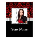 Plantilla roja y negra de la foto del damasco tarjeta postal