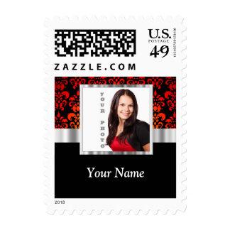 Plantilla roja y negra de la foto del damasco timbre postal
