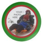 Plantilla roja y verde de la foto del navidad platos