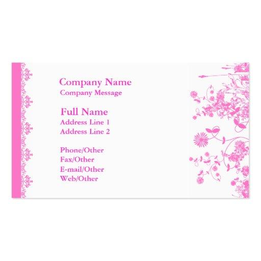 Plantilla rosada bonita de la tarjeta de visita de