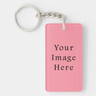 Plantilla rosada brillante del espacio en blanco d llavero rectangular acrílico a una cara