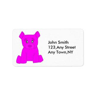 Plantilla rosada de la etiqueta del oso etiqueta de dirección