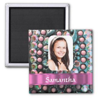 Plantilla rosada de la foto de la perla imanes para frigoríficos