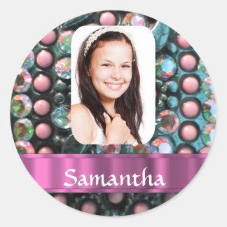 Plantilla rosada de la foto de la perla pegatina redonda