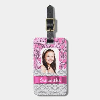 Plantilla rosada de la foto del cordón etiquetas para maletas