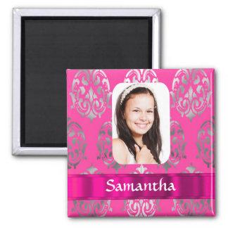 Plantilla rosada de la foto del damasco imán cuadrado