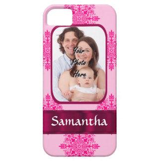 Plantilla rosada de la foto del damasco iPhone 5 carcasa