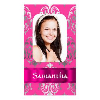 Plantilla rosada de la foto del damasco tarjetas de visita