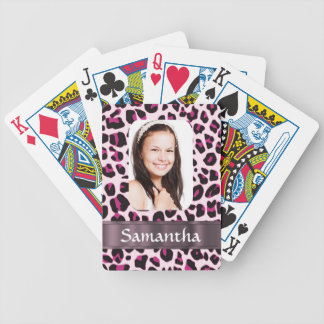 Plantilla rosada de la foto del estampado leopardo baraja de cartas bicycle