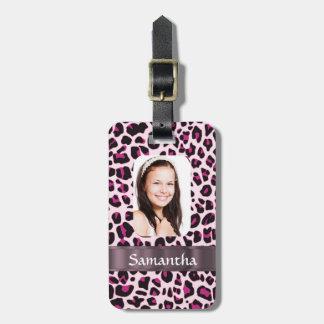 Plantilla rosada de la foto del estampado leopardo etiquetas para maletas