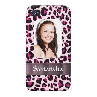 Plantilla rosada de la foto del estampado leopardo iPhone 4 carcasa