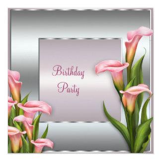 Plantilla rosada de la invitación de la fiesta de invitación 13,3 cm x 13,3cm