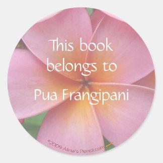 Plantilla rosada de los pegatinas del Bookplate de Pegatina Redonda