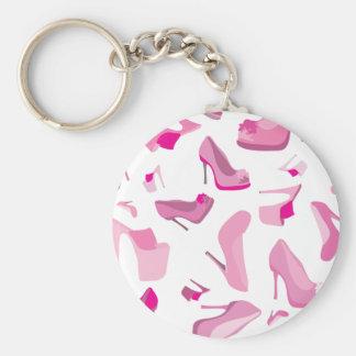 Plantilla rosada decorativa del zapato llavero redondo tipo pin