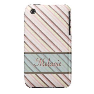 Plantilla rosada del nombre del modelo de la raya iPhone 3 Case-Mate carcasa