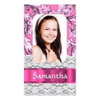 Plantilla rosada femenina de la foto del cordón tarjetas de visita