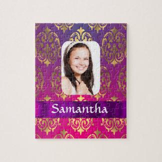 Plantilla rosada personalizada de la foto del puzzles