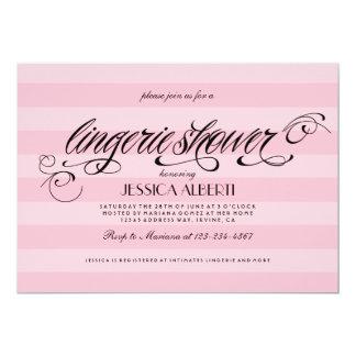 Plantilla rosada y negra de la ducha de la ropa invitación 12,7 x 17,8 cm