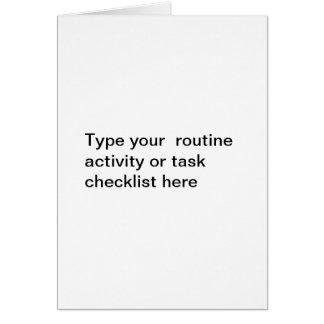 Plantilla rutinaria de la lista de control de la tarjeta pequeña