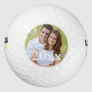 Plantilla simple del favor del boda de la foto del pack de pelotas de golf