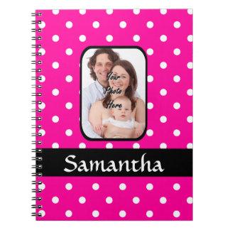 Plantilla spoty rosada brillante de la foto del notebook