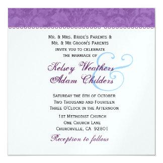 """Plantilla suavemente púrpura y blanca del boda del invitación 5.25"""" x 5.25"""""""