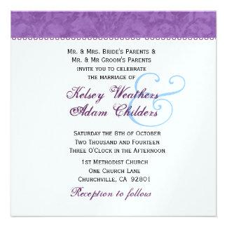 Plantilla suavemente púrpura y blanca del boda del anuncio