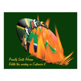 Plantilla surafricana de las invitaciones del rugb comunicado