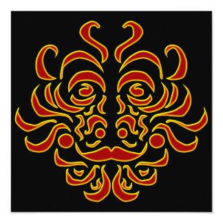 Plantilla tribal de la invitación del fiesta del invitación 13,3 cm x 13,3cm