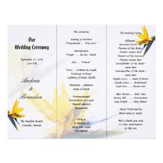 Plantilla triple del programa del boda de la ave plantillas de membrete