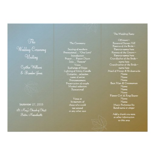 Plantilla triple del programa del boda de la brisa membrete
