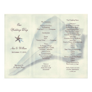 Plantilla triple del programa del boda de Shell Membrete A Diseño