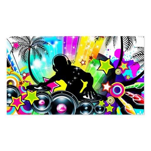 Plantilla tropical colorida retra de DJ Tarjetas De Visita
