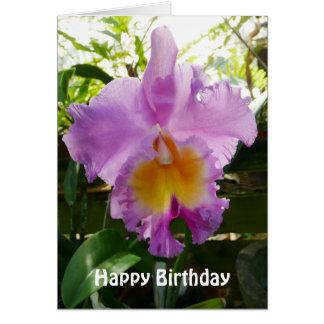 Plantilla tropical de la flor de la orquídea tarjeta de felicitación