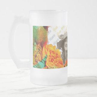 Plantilla tropical de la foto de las fronteras taza cristal mate