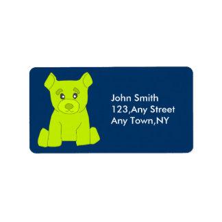 Plantilla verde de la etiqueta del oso etiquetas de dirección