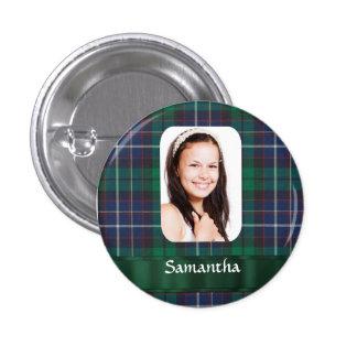 Plantilla verde de la foto de la tela escocesa pin redondo de 1 pulgada