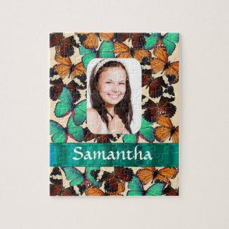 Plantilla verde de la foto del modelo de mariposa puzzle con fotos