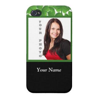 Plantilla verde de la foto del trébol iPhone 4 cárcasas