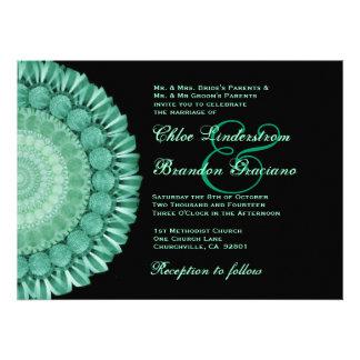 Plantilla verde del boda de la rueda de margarita invitacion personalizada