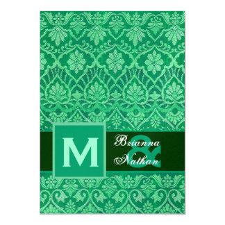 """Plantilla verde del boda del damasco de Kelly Invitación 5"""" X 7"""""""