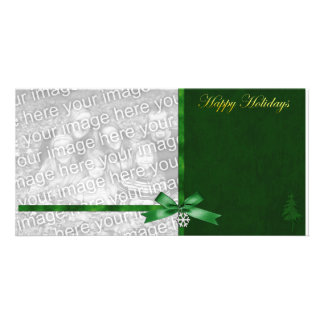 Plantilla verde elegante de la foto del día de fie tarjetas personales